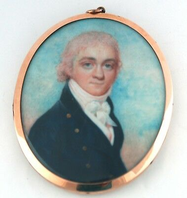 FINE GEORGIAN PORTRAIT MINIATURE GENT - by H Burch C1795  - original  gold frame