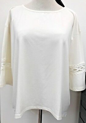 Pretty V By Very Curve Ivory Lace Trim Fluted Sleeve Top Plus Size 18 NWTGS