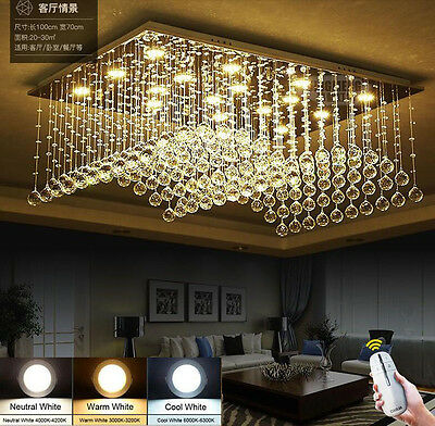 Creative Two-tone Dimming LED K9 Crystal Chandelier Ceiling Light Fixtures #6783