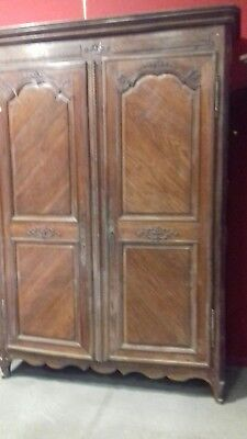 Huge Tall Antique Handmade Carved 18Thc  Ancient French Armoire With Iron Key