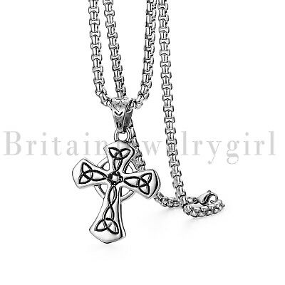 Handmade Irish Celtic Knot Cross Pendant Stainless Steel Necklace for Men Women