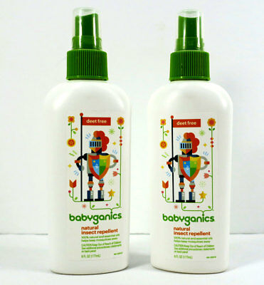 Babyganics Natural Insect Repellent. No Deet. 6 Fl. Oz. Exp: 10/2019+ (Lot of 2)