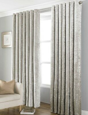 Crushed Velvet Thermal Blackout Natural Gold Eyelet Curtains Lined # 4 Sizes #