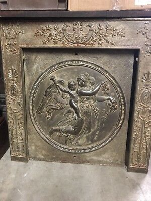 MARAntique cast-iron angel and child fire front with plate 30.25 square