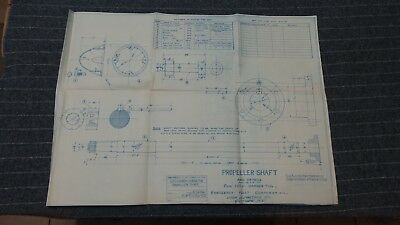 "(E-1086-102) Original 1918 Blueprint Drwg 20"" x 27"" - Propeller Shaft"