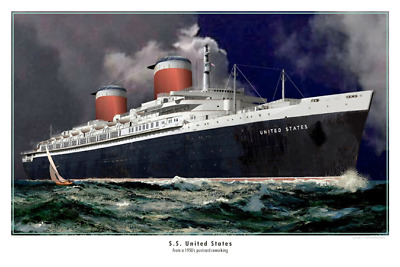 SS United States 1950's Postcard Reworking   12 x 18 poster