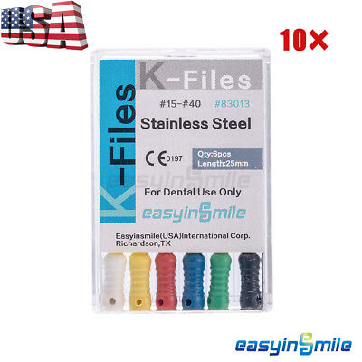 10X Dental Endo Root Canal K-FILES Stainless Steel Hand Use Assorted 25mm 15-40#