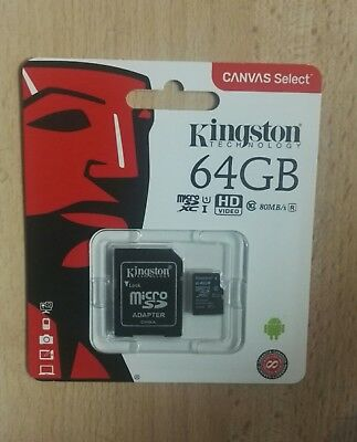 Kingston Micro SD 64GB SDHC Memory Card Microsd TF Mobile Phone Class 10 80MB/s