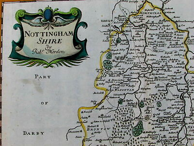 Nottinghamshire England U.K. Britain Mansfield Lincolnshire c1670 Morden old map