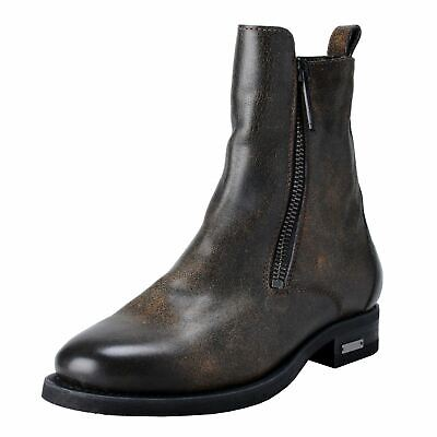 98dcd54c49be Dsquared2 Homme Délavé Cuir Brun Fermeture Éclair Bottines Chelsea Us 8 It  41