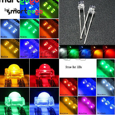 3-10mm Round/Straw Hat/Flat Top/Piranha Water LED Diodes Light  colourful BSG