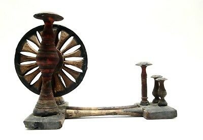 Antique Wooden Spinning Wheel Traditional Floor Tabletop Charkha India 1850-1899