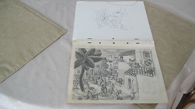 Orig. Walt Disney Production Drawings Steamboat Willie, Donald Duck & Friends