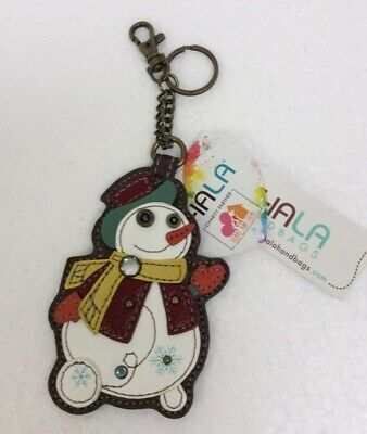 Chala Snowman Holiday Christmas Winter Key Chain Charm Ring Coin Purse New