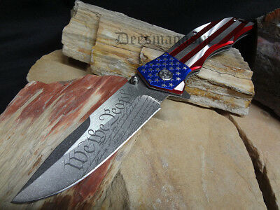 """M Tech Patriotic Flag Spring Assist  Knife American """"We The People"""" 4th of July"""