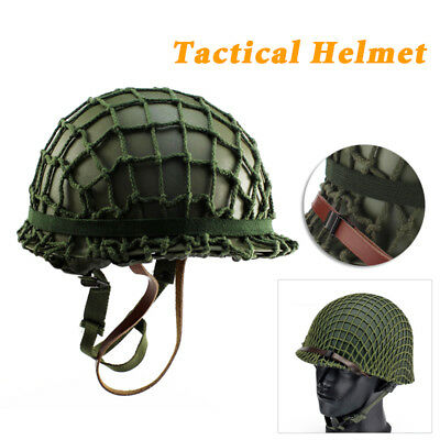 M1 CS With Netting Cover Helmet WWII Steel WW2 Army Equipment Military Well Made