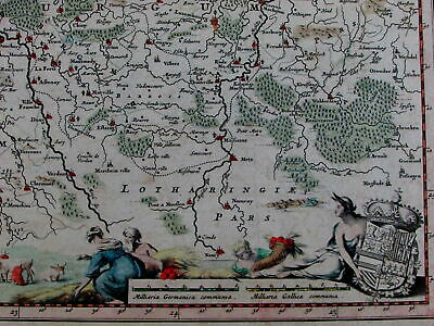 Belgium Luxembourg Holland Low Countries mermaids Athena coat of arms 1684 map