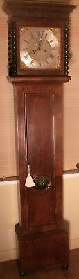 "Antique  Slim Walnut  Brass Dial 8 Day"" Yeovil""  Longcase / Grandfather Clock"