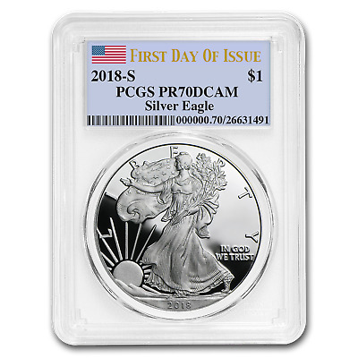 2018-S 1 oz Proof Silver American Eagle PR-70 PCGS (First Day) - SKU#172777