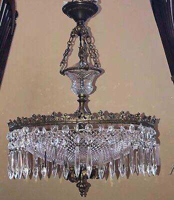 Antique French Glass Crystal Bronze Chandelier Lamp Diamond Quilt Baccarat Style