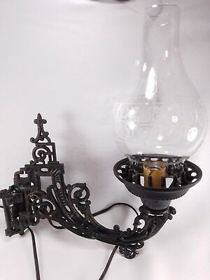 Vintage PLASTIC Wrought Iron Gothic Style Sconce Light Fixture Wall Mount Glass