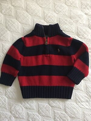 Polo Ralp Lauren Knit Sweater Boy 12 Months Stripe Red Navy 100% Cotton Half Zip