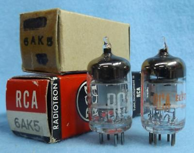 2-RCA 6AK5 Vacuum Tubes NOS/NIB Amplitrex Tested [] Getter Matched Pair