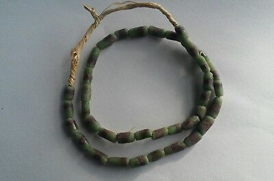 Vintage African Sand Cast Trade beads Venetian- green with brown