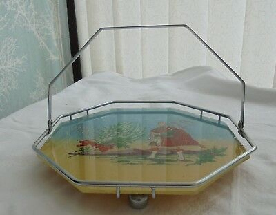Vintage painted glass cake stand, Scotland piper, chrome frame, folding handle