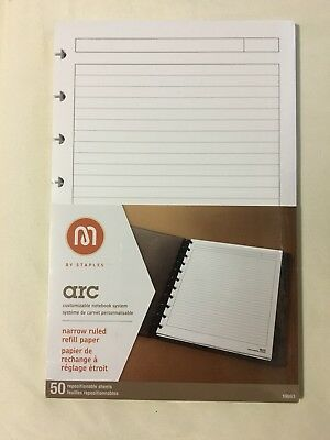 Staples M Line Arc Refill Paper Narrow Ruled 50 Repositionable Sheets