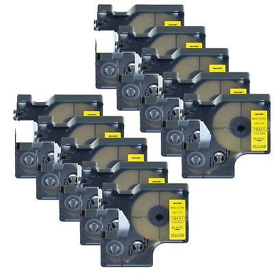 "10x 18431 Black on Yellow Vinyl Label 3/8"" for DYMO RHINO 4200 5200 6000 Printer"