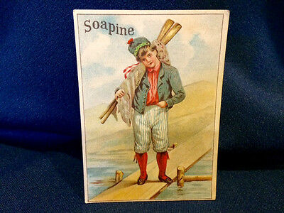 Soapine Boy with Paddles ? by Sea Flag ? Victorian Trade Card Providence, RI #23