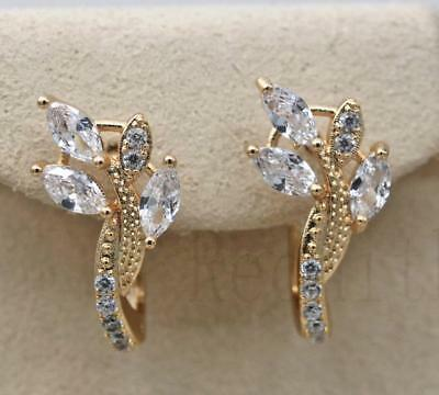 18K Gold Filled - Leaf Hollow Cat Eye Rivets Round White Topaz Party Earrings