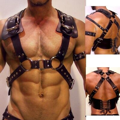 Mens PU Leather X Back Body Chest Harness Belt Costumes Cosplay Buckles O rings
