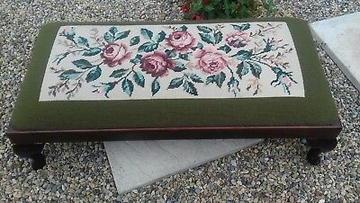 Queen Anne Style By Peer Art Carved Mahogany duet Tapestry Stool