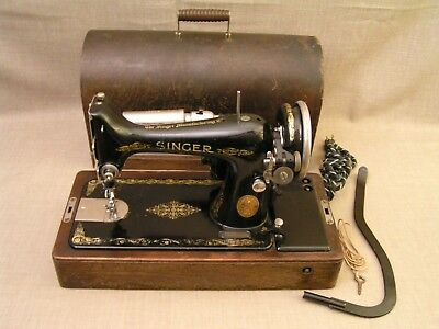 1927 Singer AB Electric Sewing Machine w/Case, Lever, Key, Oil Can -Works Great!