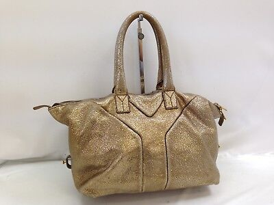 Auth YSL Yves Saint Laurent Hand Bag Gold Leather Vintage 8G180070M