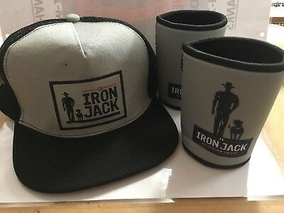 iron jack beer cap and 2 can / Stubbie coolers (grey)