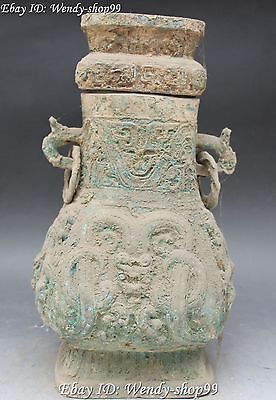"16"" Old Chinese Dynasty Bronze Dragon Beast Handle Antique Flower Bottle Vase"
