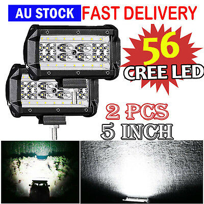 2x 5 inch 200W Led Driving Work lights Spot Square Black OffRoad 4x4 HID ATV