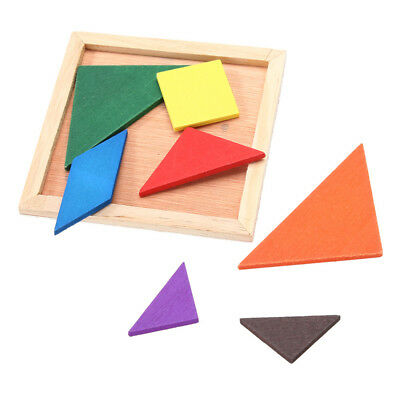 Kids Child Creative Wooden Board Jigsaw Tangram Puzzle Educational Brain Toys