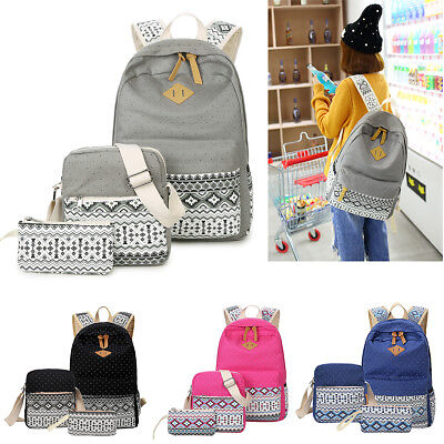 3Pcs Set Backpack Women Canvas Travel Bookbags School Bag For Teenage Girl Lady
