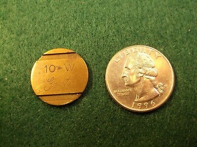 """Very Rare, And Unusual Solid Brass Double Sided Token """"10-W, Goetz"""" See Photos"""