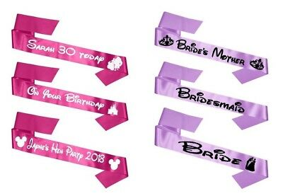 Adult's Custom  Personalised  Sashes With Disney Pictures BLACK/WHITE WRITING