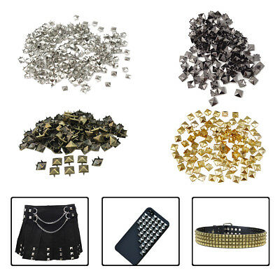 50-100 Pyramid Shape Metal Punk Stud for Leathers Crafts Jeans Jacket Bags Belts