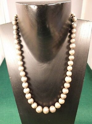 "Nice Old Vtg Antique Handmade ""mexico (Sterling) Silver"" Graduated Bead Necklace"