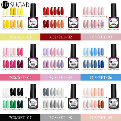 7-10PCS Colors Set Gel Nail Polish UV LED Soak Off Top Base Vanish Salon 5ML