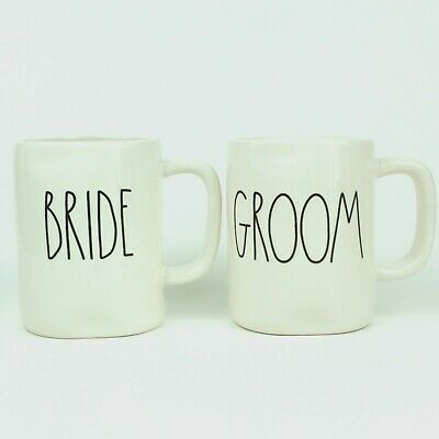 NEW Rae Dunn BRIDE & GROOM Coffee Mug Set of 2 - by Magenta LL HTF Wedding Gift