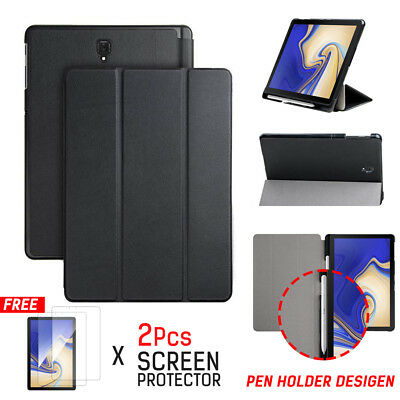 "For Samsung Galaxy Tab S4 10.5"" Smart Leather Stand Case Cover with Pen holder"