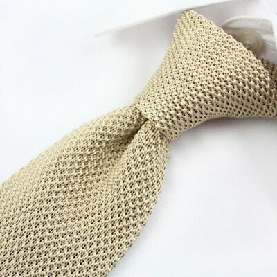 Men Casual Plain Knitted Tie Necktie Casual Narrow Slim Skinny Solid Woven Tie